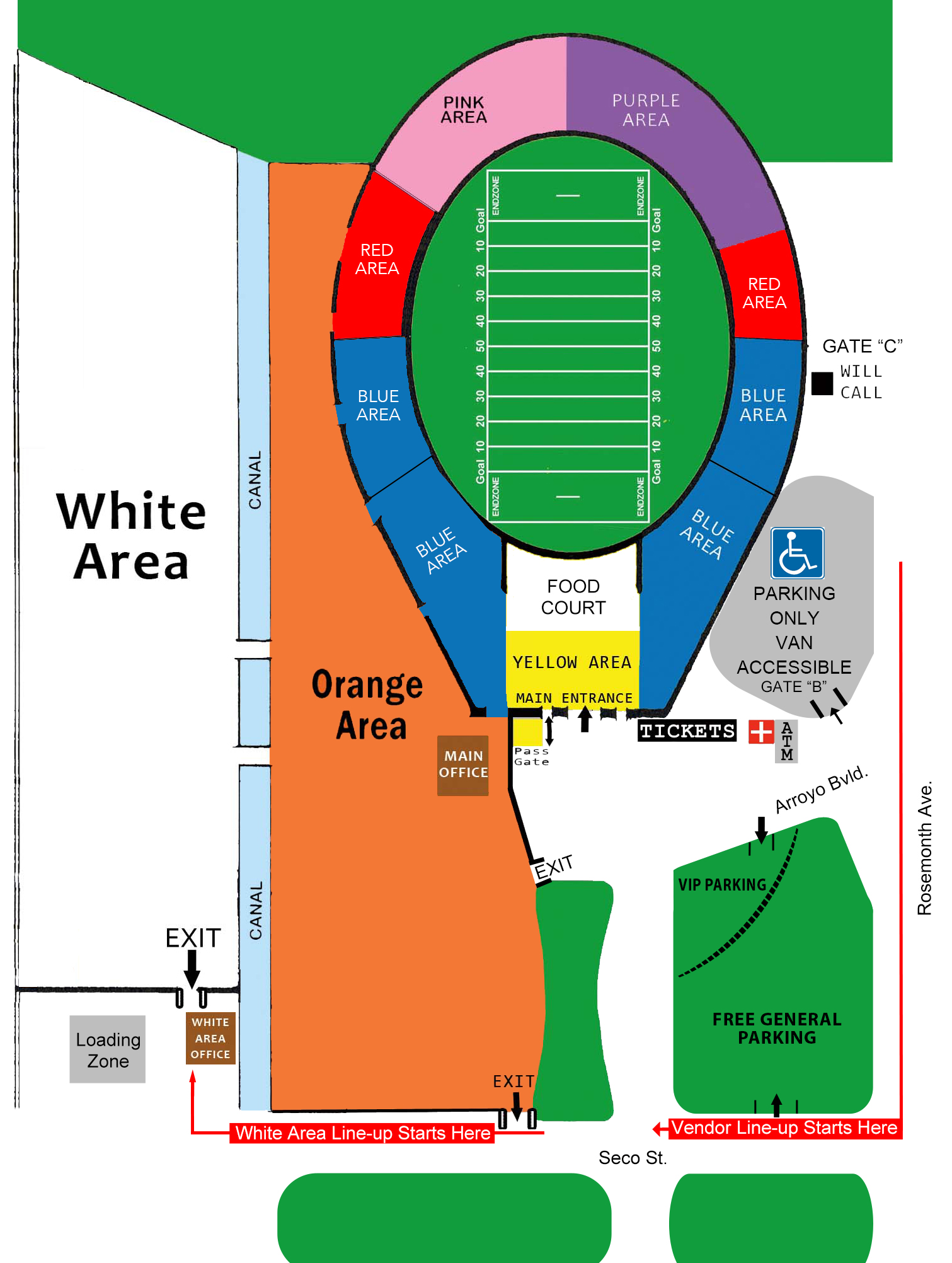 Rose Bowl Parking Map RGCShows | Rose Bowl   RGCShows. The world's most unusual flea  Rose Bowl Parking Map